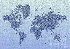 World Map Kotak In Blue by elevencorners. World map wall print decor. #elevencorners #mapkotak