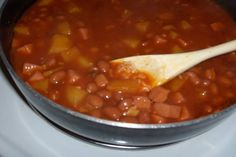 Pink beans (Puerto Rican style). Can make with dried pink beans in crock pot.