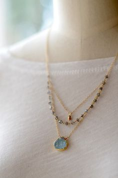 Featuring that cool and relaxed Aqua tone. By KahiliCreations on Etsy: Aqua druzy layered necklace labradorite