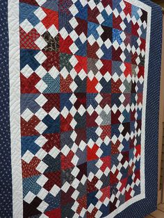 Road to Jericho by Nettie's Quilts Blue Quilts, Scrappy Quilts, Quilting Ideas, Quilt Patterns, Plaid Quilt, Nine Patch Quilt, Patriotic Quilts, Square Quilt, Diy Projects To Try