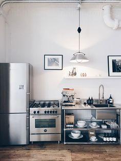 minimalist industrial kitchen at the line apartment nyc New Kitchen, Kitchen Dining, Kitchen Decor, Bakery Kitchen, Kitchen Ideas, Ikea Dining, Cheap Kitchen, Kitchen Inspiration, Country Kitchen