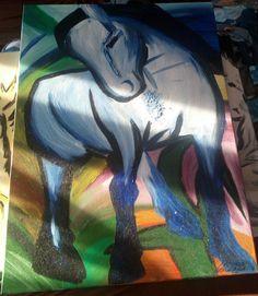 Das blaue Pferd, Acrylmalerei
