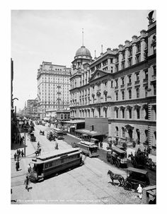 Trolley passing by Grand Central Station & Hotel Manhattan #TrolleyTuesday