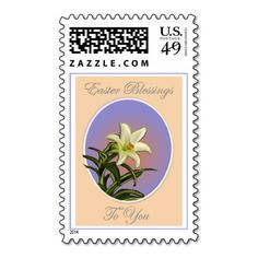 Easter Lily in Bloom Stamp #easterblessings #easterpostage #floralpostage #happyeaster