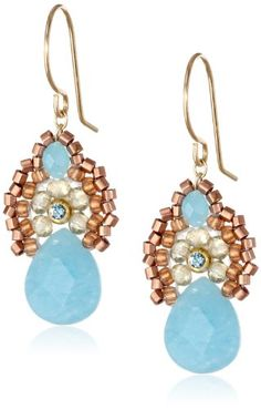 """Miguel Ases Blue Jade and Smoky Created Quartz Drop Earrings, 1.4"""" Miguel Ases http://www.amazon.com/dp/B00IHWAI8M/ref=cm_sw_r_pi_dp_JtJ3tb051N7FSA2Z"""