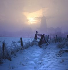 Haunting photo taken in the Netherlands, snow on the ground?, edge of a lake? ghostly windmill in the background.