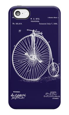 Bicycle - High Wheel - 1885 Nye Velocipede Patent - Blue by Barry  Jones
