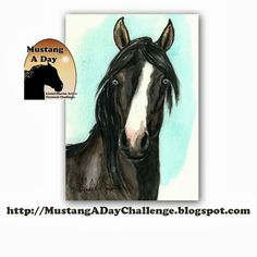 Mustang A Day Personal Challenge of LindaLMartin: Its Blue Eyed Mustang Week! East Coast Internet Adoption Challenge painting #449