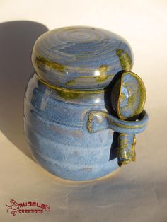 Ceramic Jar with Spoon  Blue and Edging in by MudbugCreations, $30.00