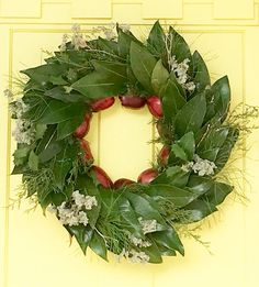 Christmas magnolia wreath with apples from @simplysoutherncottage.
