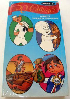 50 Classics Cartoons Vol 1 6-Hours VHS Video B & Color Includes Popeye, Casper, Felix The Cat, The Three Stooges, Paul Bunyan, Christopher Columbus, Wizard Of Oz, Humpty Dumpty, Hansel & Gretel, Raggedy Ann, Little Lulu, Betty Boop, Heckle & Jeckle, Noah's Ark, Robin Hood, Tom Sawyer, The Three Bears, & many more!