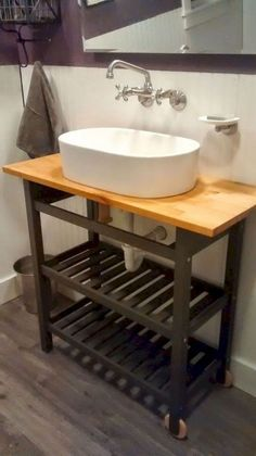 These IKEA bathroom hacks will show you how you can easily transform your bathroom on a budget! The best IKEA hacks for your bathroom organization & decor! Ikea Hack Vanity, Ikea Hack Bathroom, Ikea Bathroom Vanity, Budget Bathroom, Vanity Sink, Bathroom Furniture, Modern Furniture, Rustic Furniture, Antique Furniture