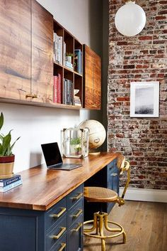Contemporary Home Office Design Ideas. Hence, the demand for home offices.Whether you are planning on including a home office or refurbishing an old space into one, here are some brilliant home office design ideas to assist you begin. Mesa Home Office, Home Office Space, Home Office Desks, Home Office Colors, Office Table, Kitchen Office Nook, Rustic Office Desk, Office Desk With Hutch, Desk For Two
