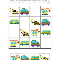 Transportation Toys Sudoku Puzzles - Gift of Curiosity Farm Animals Preschool, Body Preschool, Infant Activities, Activities For Kids, German Language Learning, Spanish Language, French Language, Sudoku Puzzles, Transportation Theme