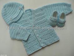 Marumin Crochet: Conjunto celeste para bebe/ Light blue set for a baby boy