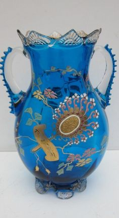 Glass Vase with enamel in Japonism style, French 1900's, Emille Galle's work