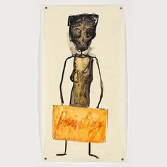 """Mira Schor """"'Power' Figure: Painting"""" 2016 ink and gesso on tracing paper 22.5"""" x 12"""". Part of her exhibition """"Power"""" Frieze at CB1 Gallery. Last week to see them! Show closes on Sunday October 30. .  http://cb1.co/7x . """"... more recent Power Frieze 2016 depicts a central figure representing Woman Artist. Inspired by the Mangaaka sculptures that Schor encountered in the Metropolitan Museum of Art these skeletal power figures some of them wearing boxing gloves do battle with internal and…"""