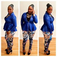 The Fashionist in the City @Aja Chambers has paired our Royal Blue Peplum Jacket with Leggings and killed it.  Want this look?   Jacket : http://www.chicandcurvy.com/tops/product/9593-new-plus-size-faux-leather-jacket-shirt-in-royal-blue-with-gold-zipper-1x-2x-3x?search=Jacket  Leggings : Email for invoice us at chicandcurvy@gmail.com