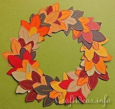 Autumn Crafts for Kids - Paper Autumn Wreath | Thanksgiving Crafts for Kids | Scoop.it - do with fancy scrapbook paper or sew quilted felt leaves for a more permanent decoration.