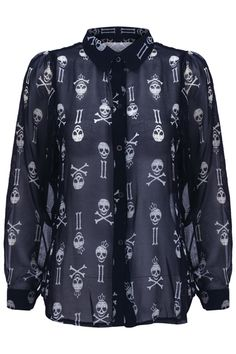 """""""Various Skull"""" Black Shirt. Description Black shirt, featuring unique collar, long sleeves, buttoned cuffs and front, contrasting various skull: wearing crown skull, cross skull print throughout, unique hem, opaque styling. Fabric Chiffon. Washing Cool hand wash with similar colours, do not tumble dry. #Romwe"""
