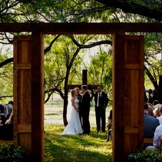 Wooden doors at our outdoor wedding so I could still make a grand entrance :)