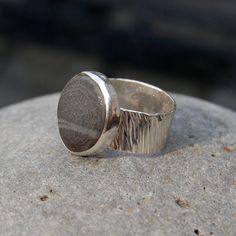 striped beach stone hammered  ring. $56.00, via Etsy.