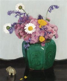 A bunch of flowers by Dod Procter, oil on canvas