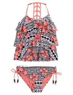 Tribal Flower Tankini Swimsuit from Justice. #wantit. Shop more products from Justice on Wanelo.