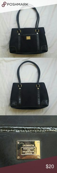Liz Claiborne black purse EUC Snap closure  5 pockets inside. 2 are zippered.  1 pocket outside  Approx 11.5 inches long x 8 inches high x 3.5 inches deep  Black with black butterflies Liz Claiborne  Bags Shoulder Bags