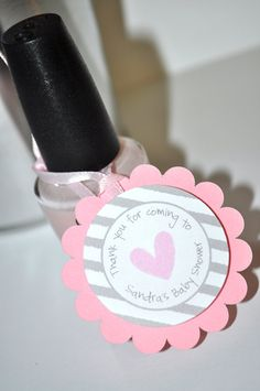 12 Girls Baby Shower Favor Tags Pink and Gray by sosweetpartyshop, $10.00
