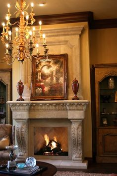 Over Mantels - DeVinci Cast Stone Fireplace Mantels Stone Fireplace Mantel, Fireplace Mantle, Fireplace Surrounds, Fireplace Design, Propane Fireplace, Mediterranean Living Rooms, Non Plus Ultra, World Decor, Tuscan Decorating