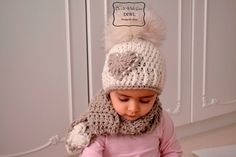 Crochet Pattern- Children  XXL Pom Pom Winter Hat with Scarf Set - Free Ship  ❤Kinder Pom Pom Mütze Schal Set Häkelanleitung❤  von  DO IT WITH LOVE auf DaWanda.com