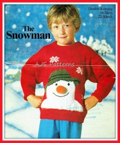 This PDF Knitting pattern is for a Childs Sweater with a Snowman Face Motif on Etsy
