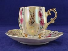 Yellow, Gold & Pink Flower 3 Footed Trimont Ware Japan Small Tea Cup & Saucer