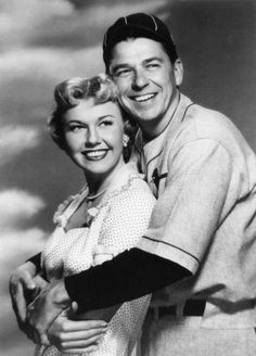 "1952  Doris Day and Ronald Reagan in the Film ""The Winning Team"". Reagan Portrayed  Hall of Famer  Grover Cleveland  Alexander. Warner Brothers"