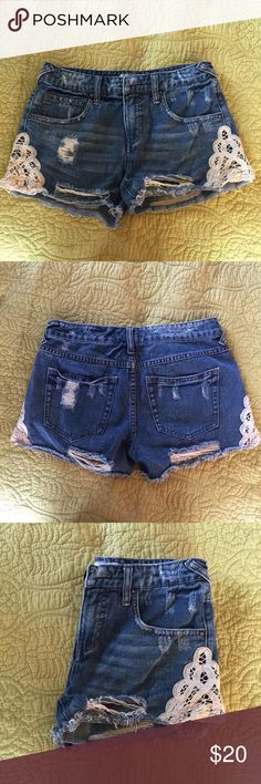 Free People Denim Lace Shorts Free People Jean Shorts with crocheted Lace detailing on the sides. Size: 25. Free People Shorts Jean Shorts