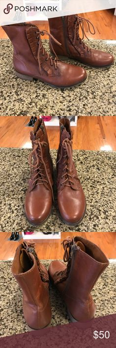 Betsey Johnson Lotso Combat Boots Brown with lace and zipper closure, ruffle design. Only worn once, excellent condition. Leather upper Betsey Johnson Shoes Combat & Moto Boots