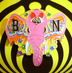 Eye Heart Pink Elephants Bassnectar Pin on Etsy, $15.00