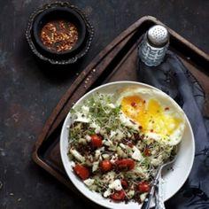 Quinoa Salad with Cucumber, Feta and Fried Egg by eCurry  #Salad #Quinoa #Egg