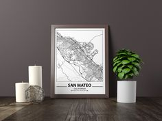 Map Wall Decor, Map Wall Art, Map Art, Black And White Posters, Black And White Wall Art, Bathroom Artwork, City Map Poster, Artwork Prints, Father Father