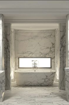 white marble bathroom - Beirut penthouse his and hers bath with matching freestanding marble tub in an windowed alcove - Joseph Dirand via Atticmag Bathroom Spa, Bathroom Interior, Master Bathroom, Modern Bathroom, Masculine Bathroom, Classic Bathroom, Design Bathroom, Washroom, Bathroom Ideas
