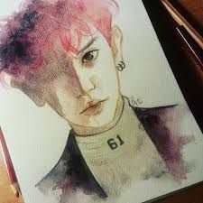 Image result for drawing• Chanyeol exo watercolor