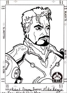 Iron man robert downey jr freehand design, drawn by Tattoo Artist Mikey B. illustration sketch drawing ink inked marvel comics Disney