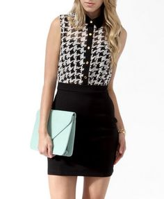 Houndstooth Print Sheath Dress (Cream/Black). Forever 21. $19.80