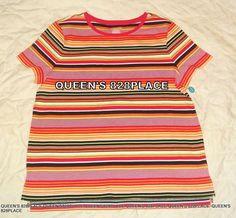 2bca020bae420a Nwt Westbound women s Pink Striped short sleeve Top T-shirt Cotton XL New  B4839