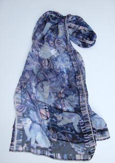 Lemurs and figs silk chiffon scarf £65.00