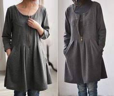 gray fall pleated knee length Bottoming shirt by MaLieb on Etsy, $72.00