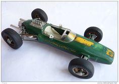 """Vintage """"Schuco"""" Lotus Formule 1, ref. 1071, Tin Toy, Verte, 21 cm, Clé manquante, à restaurer."""