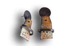 Montserrat Lacomba. Impossible Earrings Number 6 Enameled and oxidized copper…