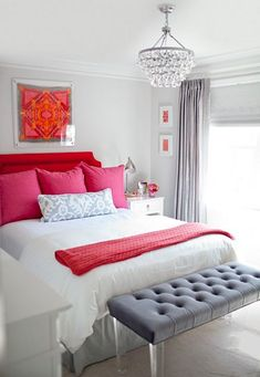 gray bedroom with bright pink accents from Kiki's List via Atticmag